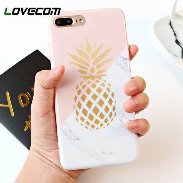 Gold Pineapple Marble Phone Cases For iPhone X / 8 / 7 / 6 / 5 Models