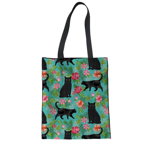Cute Black Cat Foldable Shopping