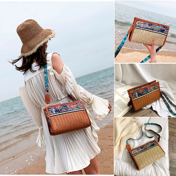 Rattan with Colorful Prints Handbags