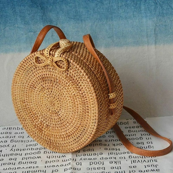 Natural Rattan Round Shoulder Bag
