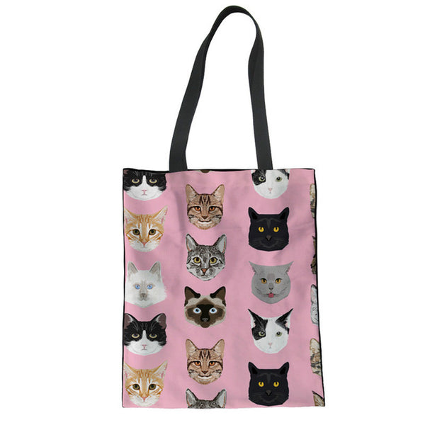 Cute Cats Print Casual Canvas Shopping Tote Bag