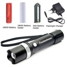 Rechargeable FT17 Black Pocketman LED Flashlight Zoomable 5 Modes Waterproof LED Torch 18650 AAA 3800LM linterna led Camping