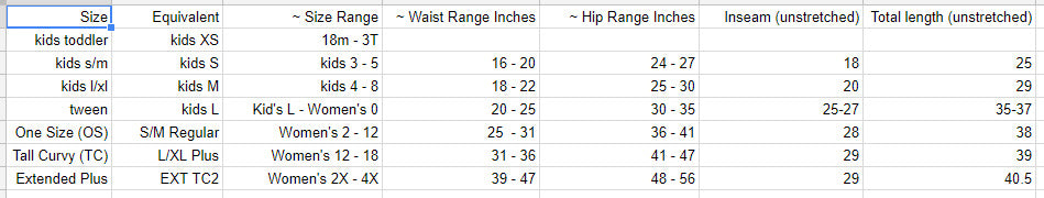 legging size chart for purple pineapple apparel