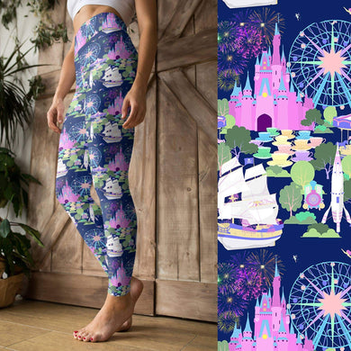 Magical Vacation - Yoga Waist Leggings - PREORDER