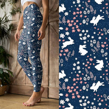 Bunnies on Navy - Women's Yoga Waist Leggings