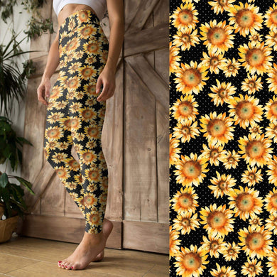 Sunflowers + Dots - Kid's Yoga Waist Leggings - PREORDER by March 1