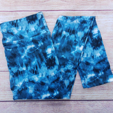 Blue Tie Dye - Yoga Waist Leggings