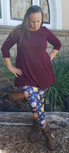 Ultra Soft 3/4 Sleeve Tunic in Dark Burgundy