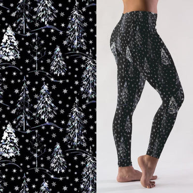 Snowy Trees - Yoga Waist Leggings