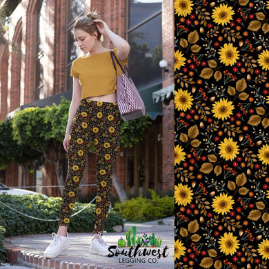 Fall Sunflowers - Yoga Waist Leggings - PREORDER by July 19th