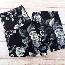 Monochrome Rose - Yoga Waist Leggings