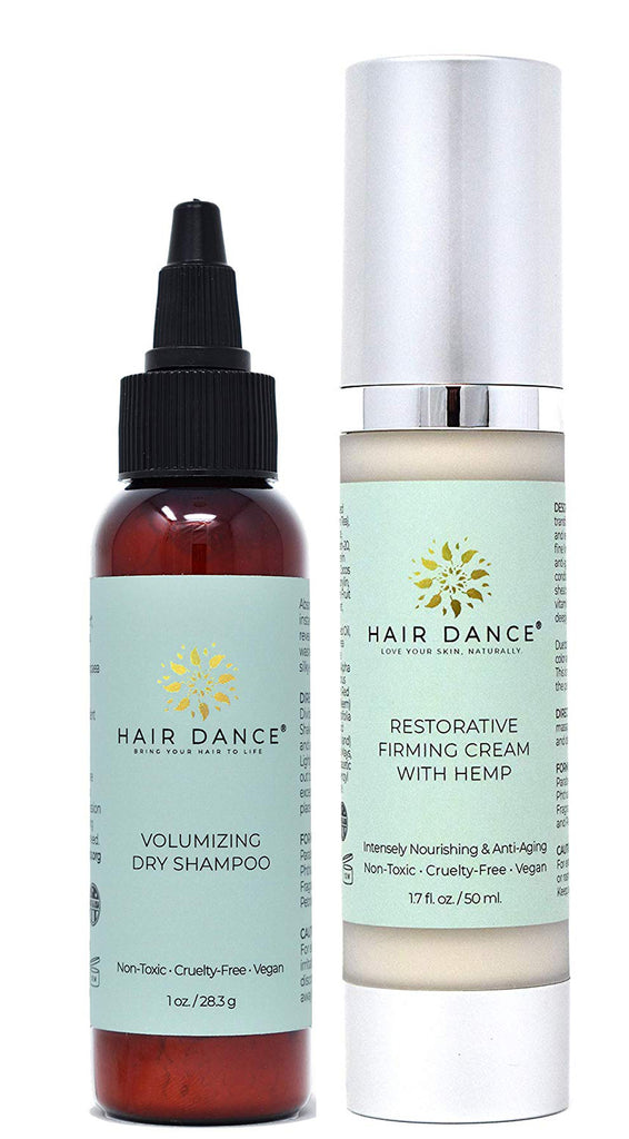 LIMITED EDITION Skin & Hair Bundle: Volumizing Dry Shampoo (Lavender) and Restorative Firming Face Cream with Hemp