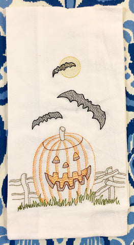 Bat and Jack-O-Lantern Flour Sack Towel