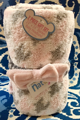 Pink Chenille Blanket and Headband Gift Set