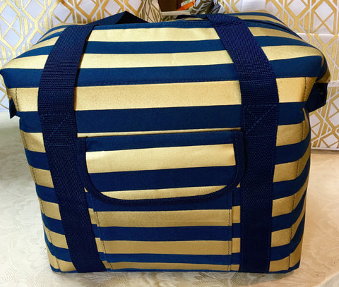 Navy/Gold Stripe Cooler Bag