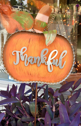 Galvanized Metal Thankful Pumpkin Stake