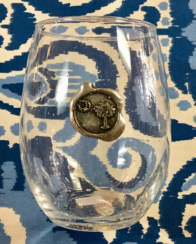 Glass Palmetto Tree and Moon Stemless Wine Glass