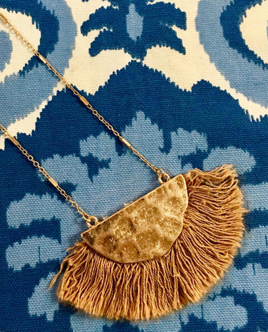 Gold Bib with Tan Fringe Necklace