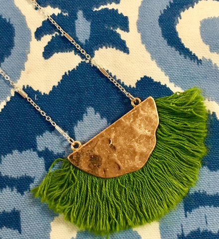 Gold Bib with Green Fringe Necklace