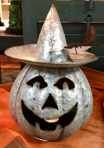Galvanized Jack-o-lantern Witch