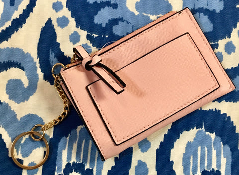 Millennial Pink Slim Card Case with Key Chain