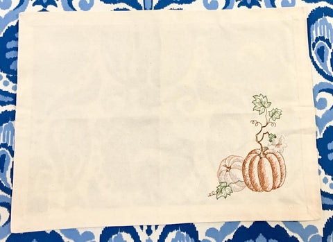 Pumpkins Embroidered Placemat