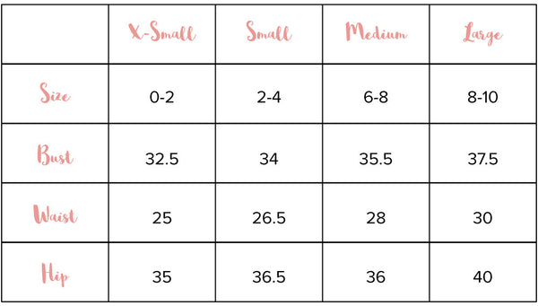 Slay Boutique Size Chart