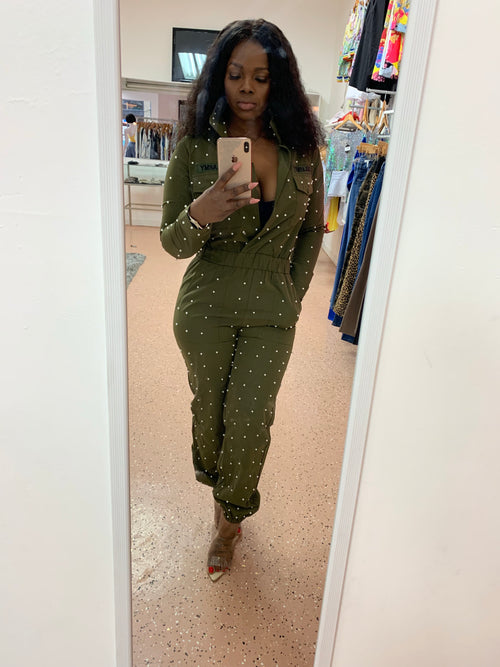 Military Jumpsuit with Pearl