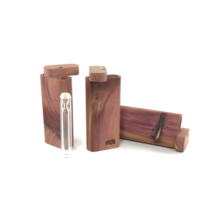 4 Inch Cedar Wood Dugout With Glass One-hitter