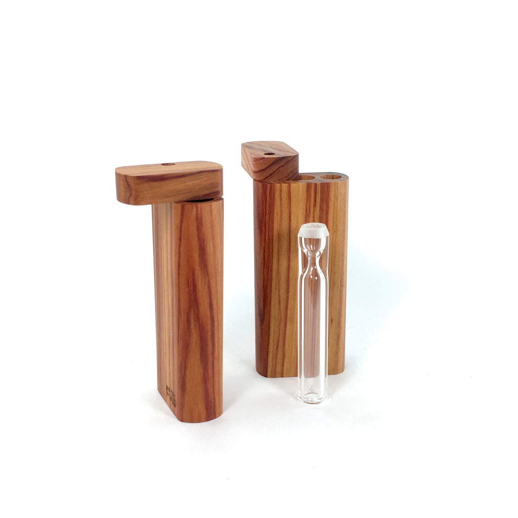 4 Inch Tulipwood Exotic Wood Dugout With Glass One-hitter