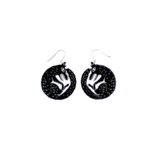 Load image into Gallery viewer, small black wolf earrings on white background