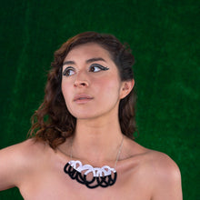 Load image into Gallery viewer, Chunky black & lilac statement necklace on model