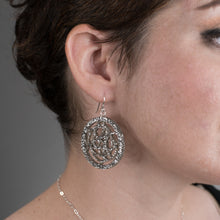 Load image into Gallery viewer, Silver Circle Earrings on model
