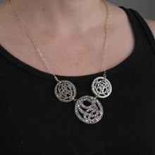 Silver Three Circle Necklace on Model