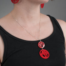 Red Circle Pendant Necklace on Model