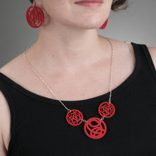 Red Three Circle Necklace on Model