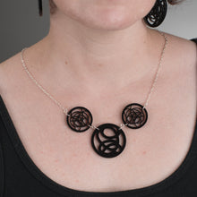Load image into Gallery viewer, Black Circle Necklace on model