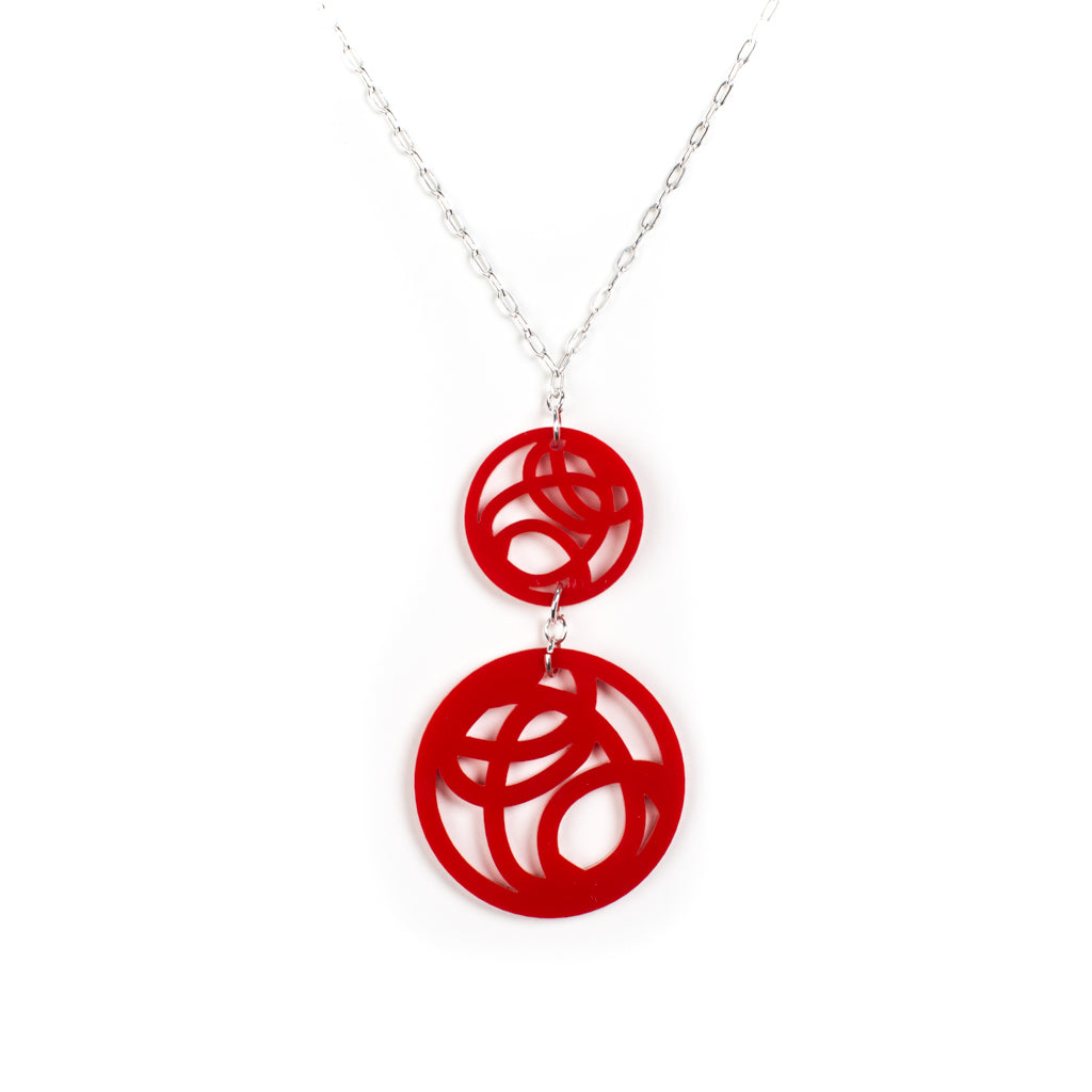 Red Circle Pendant Necklace