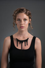 statement necklace on model