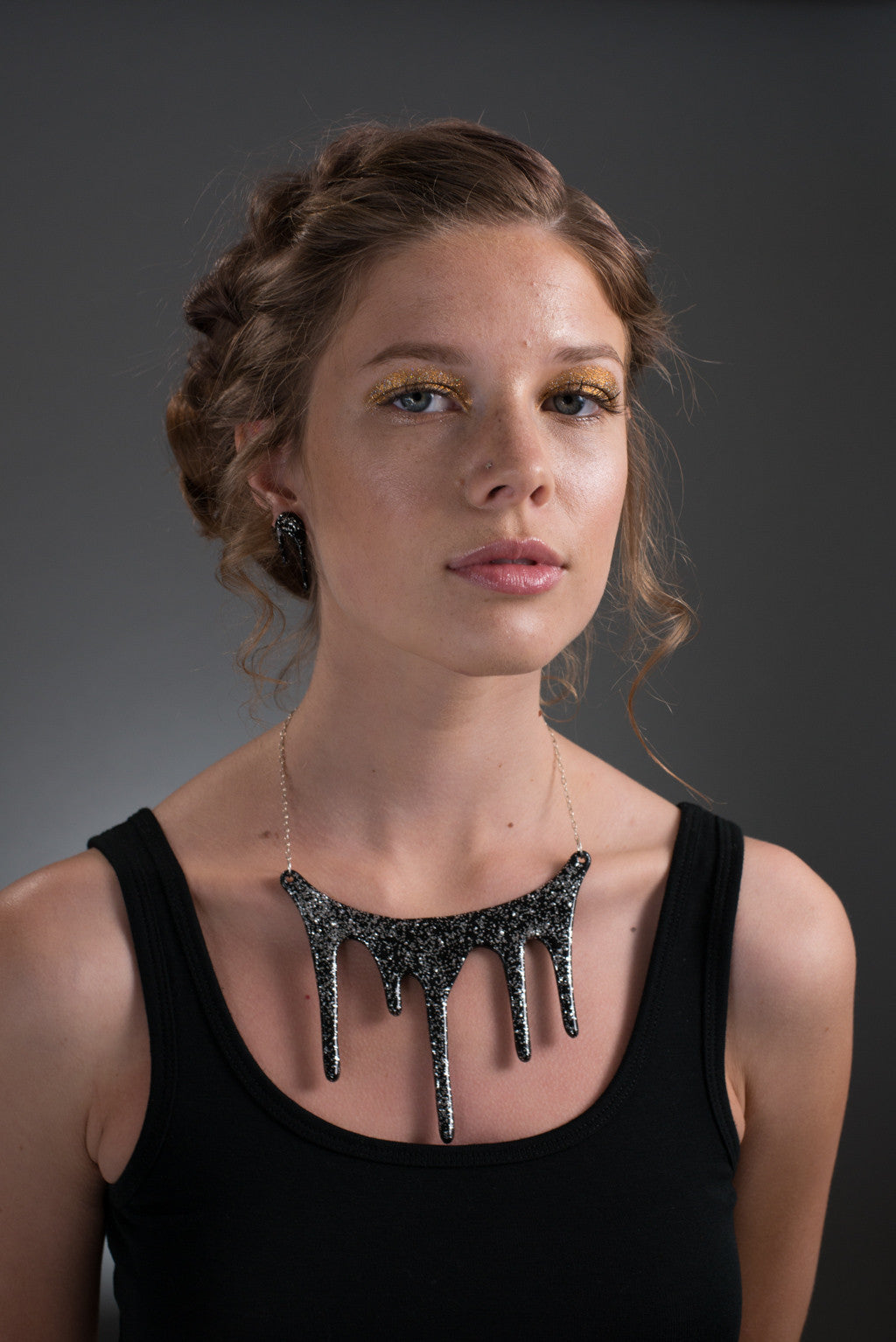 Sparkly Black Statement Necklace on model