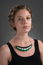 green collar necklace on model