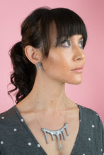Load image into Gallery viewer, sparkly silver necklace on model