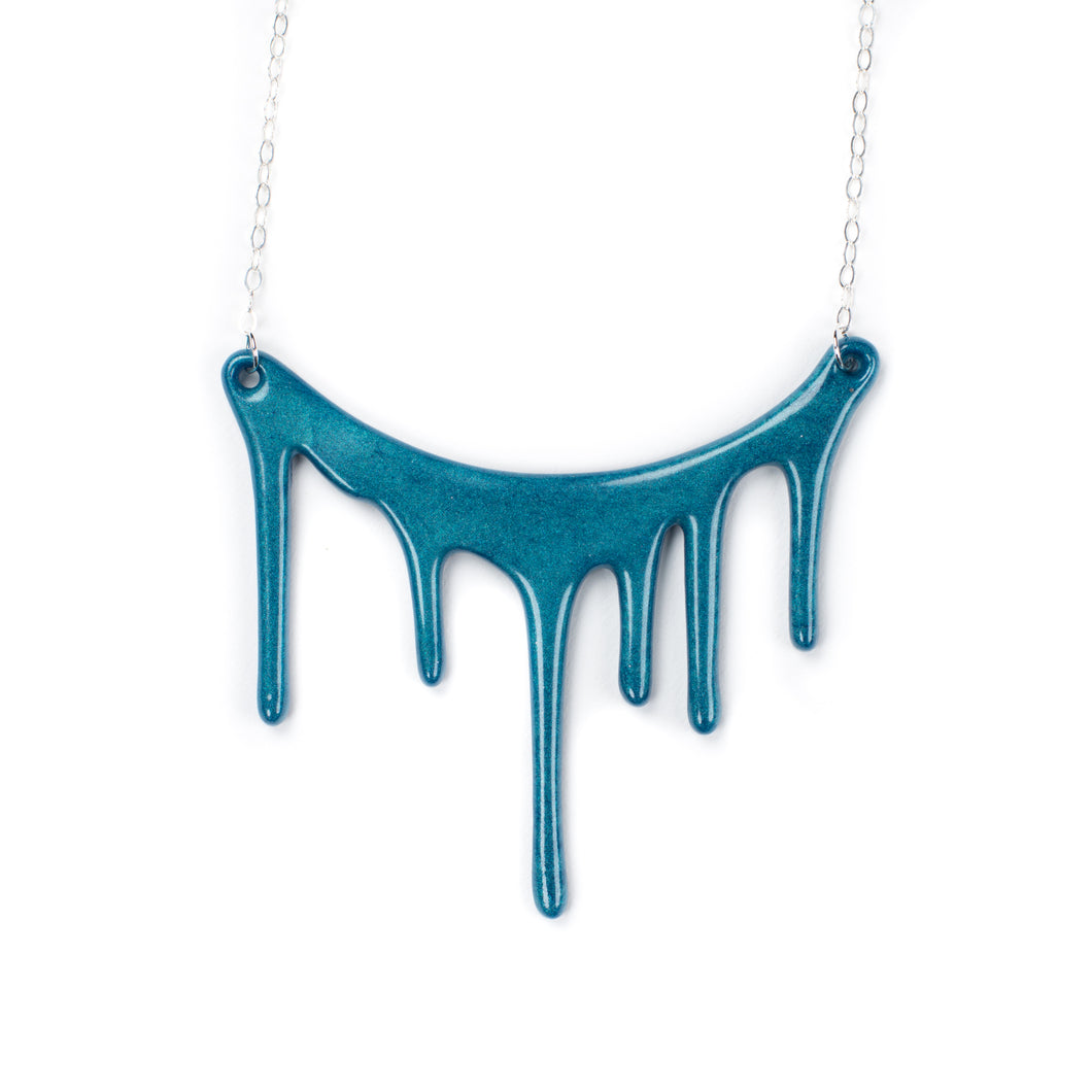 dripping blue necklace