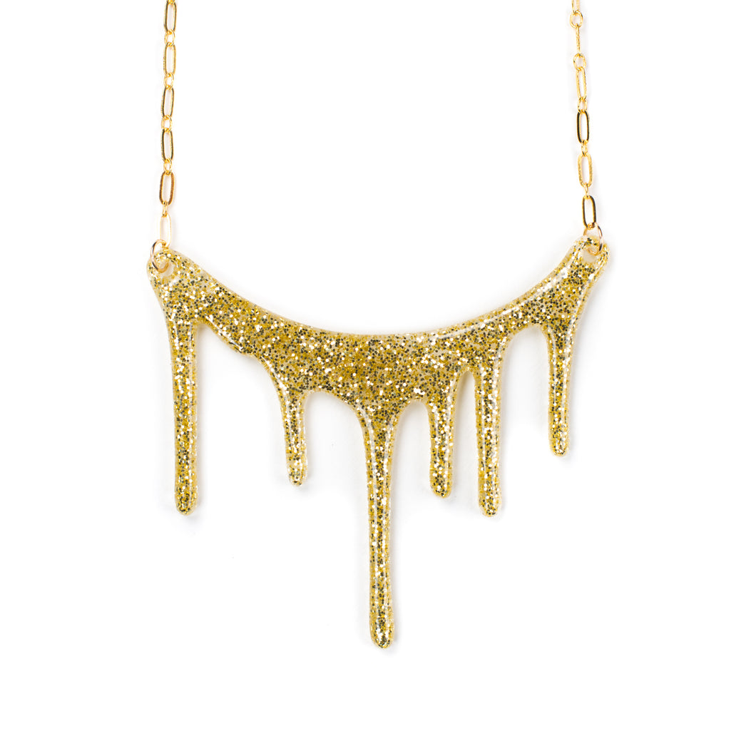 Gold Glitter Necklace / Gold Resin Necklace / Glitter Gift - Melt