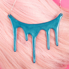 Load image into Gallery viewer, melt shimmering blue statement necklace  over pink