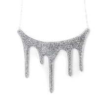 Load image into Gallery viewer, drip silver statement necklace over white