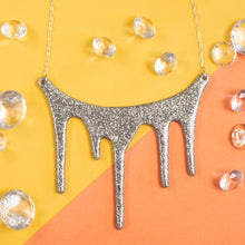 Load image into Gallery viewer, drip silver statement necklace styled