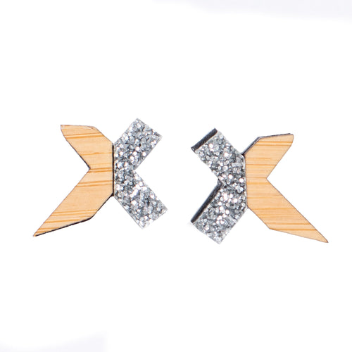 Silver and Wood Stud Earrings - Exed