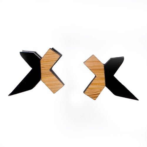 Black and Wood Stud Earrings - Exed