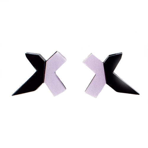 Black and Lavender Stud Earrings- Exed